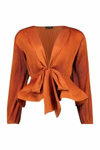 Womens Woven Crinkle Tie Front Blouse - Orange - L, Orange