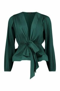 Womens Woven Crinkle Tie Front Blouse - green - M, Green