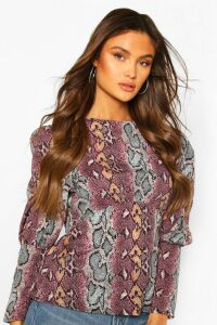 Womens Long Sleeve Empire Line Top - snake - 16, Snake
