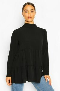 Womens Woven Smock Tunic Top - Black - 14, Black