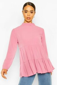 Womens Woven Smock Tunic Top - pink - 14, Pink