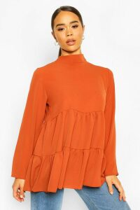 Womens Woven Smock Tunic Top - orange - 14, Orange