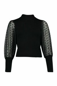 Womens Polka Dot Organza Puff Sleeve Jumper - black - One Size, Black