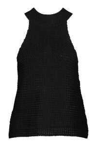 Womens High Neck Knitted Top - black - M, Black