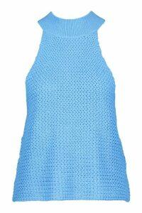 Womens High Neck Knitted Top - Blue - Xl, Blue