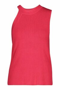 Womens Asymmetric Neck Knitted Top - Pink - M, Pink