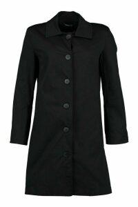Womens Button Through Mac Trench Coat - black - 8, Black