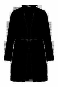 Womens Zip Detail Wool Look Coat - black - 8, Black