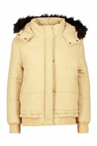 Womens Faux Fur Trim Crop Puffer Jacket - Beige - 14, Beige