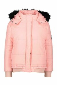 Womens Faux Fur Trim Crop Puffer Jacket - Pink - 14, Pink