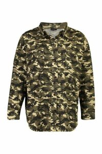 Womens Oversized Belted Camo Print Shirt Jacket - green - M, Green