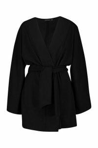 Womens Tie Waist Midi Kimono - Black - L, Black