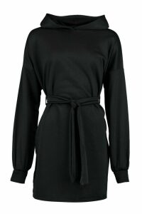 Womens Recycled Longline Hoodie With Tie Belt - black - 16, Black