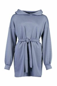 Womens Recycled Longline Hoodie With Tie Belt - blue - 16, Blue