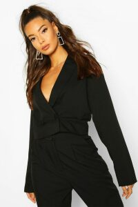 Womens Cropped Boxy Blazer - Black - 14, Black