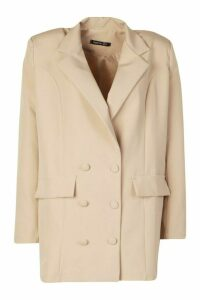 Womens Double Breasted Oversized Blazer - Beige - 14, Beige