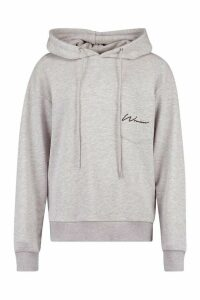 Womens Woman Logo Pocket Oversized Hoodie - Grey - 8, Grey