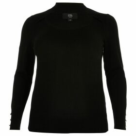 River Island Womens Plus Black cut out choker knitted jumper