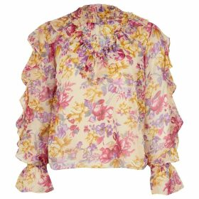 River Island Womens Petite Pink floral ruffle long sleeve blouse