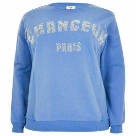 River Island Womens Plus Blue 'Chanceux' diamante sweatshirt