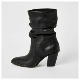 River Island Womens Black heeled slouch boots