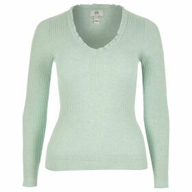 River Island Womens Petite Green frill V neck rib knitted jumper