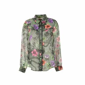 Metallic Floral Buttoned Blouse with Shirt-Collar and Long Sleeves