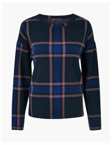 M&S Collection Checked Cosy Crew Neck Sweatshirt