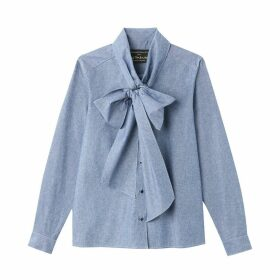 Chambray Cotton Pussy-Bow Blouse with Long Sleeves