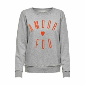 Cotton Mix Crew-Neck Sweatshirt with Slogan Print