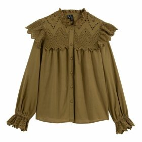 Cotton High-Neck Ruffled Blouse with Embroidery