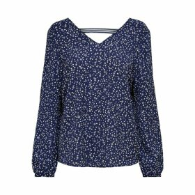 Printed Long-Sleeved V-Neck Blouse
