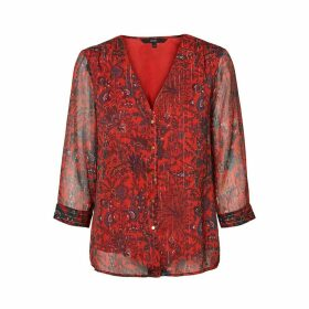 Draping Floral Print Blouse with V-Neck
