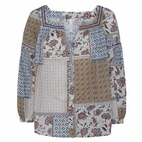 Cotton Patchwork Print Blouse with Tunic-Collar