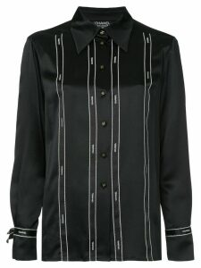Chanel Pre-Owned logo ribbon-tape fitted shirt - Black