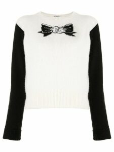 Chanel Pre-Owned 1995 intarsia-bow cashmere jumper - White