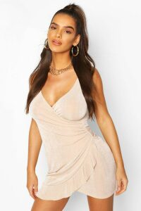 Womens Ruched Side Frill Hem Mini Dress - Beige - 14, Beige
