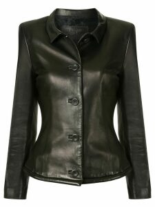 Versace Pre-Owned leather buttoned jacket - Brown