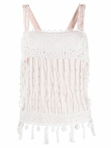 Chanel Pre-Owned striped crochet top - White