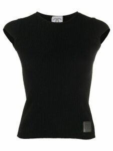 Chanel Pre-Owned side stripes knitted top - Black