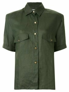 Chanel Pre-Owned logo button military shirt - Green