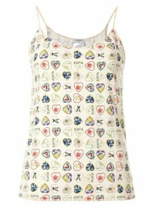 Chanel Pre-Owned signature hearts print camisole - White