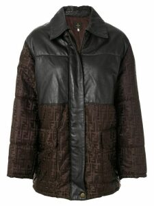 Fendi Pre-Owned Zucca pattern panelled coat - Brown