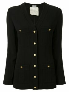 Chanel Pre-Owned Front Opening CC Button Long Sleeve Tops - Black