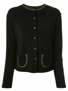 Fendi Pre-Owned logo trim cardigan - Black