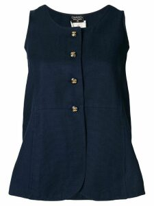 Chanel Pre-Owned buttoned sleeveless top - Blue