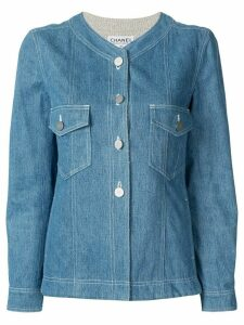 Chanel Pre-Owned denim collarless jacket - Blue