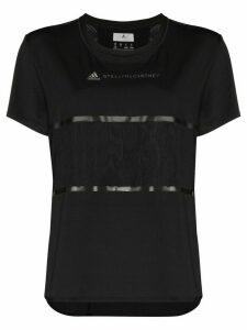 adidas by Stella McCartney panelled logo-print T-shirt - Black