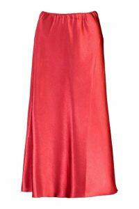 Womens Satin Longline Slip Skirt - Pink - 8, Pink