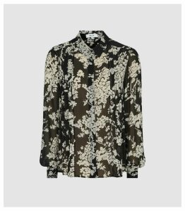 Reiss Jean - Floral Printed Blouse in Black, Womens, Size 16